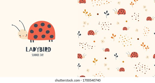 Graphic set of hand drawn illustration and seamless pattern with cute ladybirds. Funny t-shirt and textile design for kids. Use for fashion wear, t-shirt print, textile, surface design. Vector