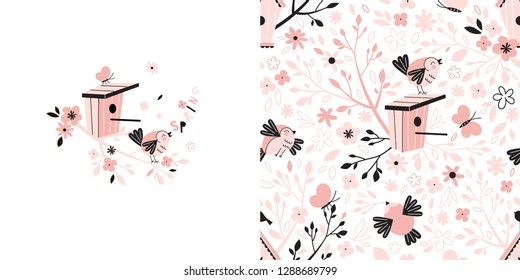 Graphic set with illustration and seamless pattern of spring cute bird singing on branch and birdhouse. Creative birdy background. Perfect for kids apparel, fabric, textile, nursery decoration