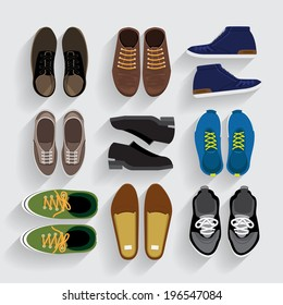 Graphic Set Shoes  flat design vector style