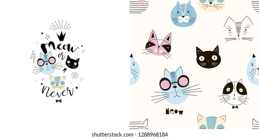 Graphic set of typographic illustration and seamless pattern with funny cartoon cats heads. Cool kids vector graphic for apparel t-shirt print, textile, poster cardmaking and other surface pattern