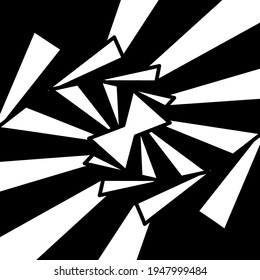 Graphic shapes triangle swirling in loop. Black and white shapes that create illusion of movement. optical effect wave stripe movement. Vector abstract shapes. vortex with lines.