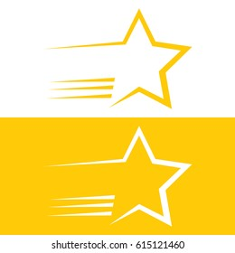 A graphic shooting star icon in vector format.