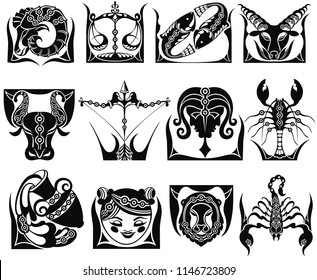Graphic signs of the Zodiac