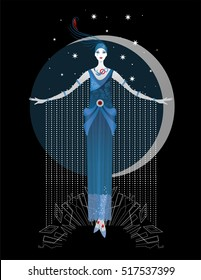 Graphic silhouette of a art deco woman. Fashion luxury. Feminine concept