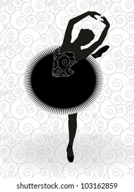 graphic silhouette of ballet dancer