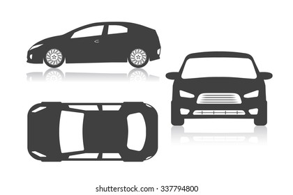 graphic silhouette of the car set