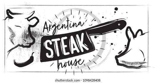 Graphic silhouette of a cow and a pig on a white background. Poster of steak restaurant