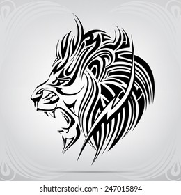 Graphic silhouette roaring lion