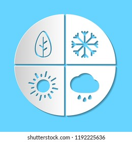 Graphic simple paper cut four seasons sign. White paper art vector icon isloated on blue background. Winter, spring, summer, autumn - all year round symbol. Snow, rain and sun. EPS10