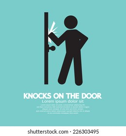 Graphic Of Single Man Knocks on The Door Vector Illustration