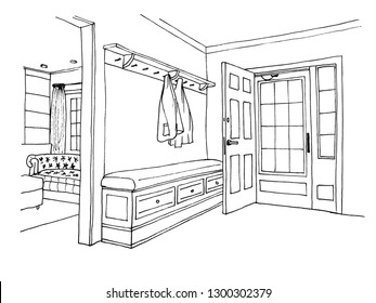 The graphic sketch hall in the house. Entrance door.