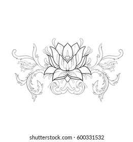 Graphic sketch of lotuses in ornament on white background.