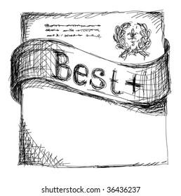 graphic sketch of ribbon. vector illustration.