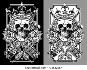 Graphic skull with crossed tattoo machines and crown set