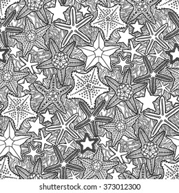 Graphic starfish collection drawn in line art style. Vector ocean seamless pattern. Coloring book page design for adults and kids