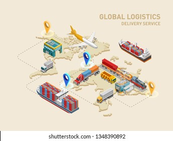 Graphic structure of global logistics and delivery service with various freight transport and destination points on world map