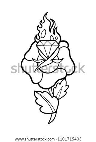 Graphic Stylized Flower Flaming Gem Vector Stock Vector Royalty