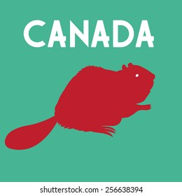 Graphic symbol beaver country Canada