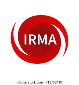 Graphic symbol of hurricane Irma. Icon, sign, indication of the hurricane, vortex, tornado