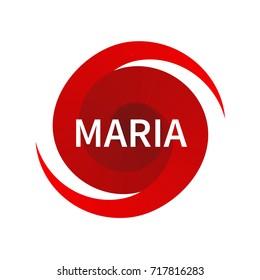 Graphic symbol of hurricane Maria. Icon, sign, indication of the hurricane, vortex, tornado