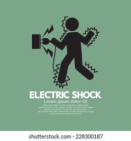 Graphic Symbol Of A Man Get An Electric Shock Vector Illustration