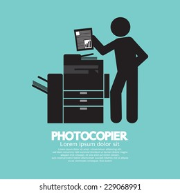 Graphic Symbol Of A Man Using A Photocopier Vector Illustration