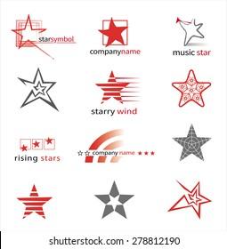 Graphic symbols with stars. Vector set.