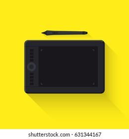 Graphic tablet. Flat design. Vector illustration.