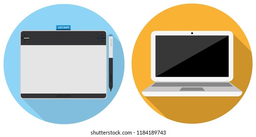 Graphic tablet and laptop(flat icons set)