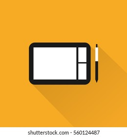 Graphic tablet and pen on yellow background. Wacom flat design. Long shadow. Vector illustration