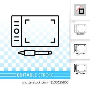 Graphic tablet thin line icon. Outline sign of stylus. Pad linear pictogram with different stroke width. Simple vector symbol, transparent background. Graphic tablet editable stroke icon without fill