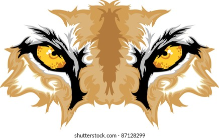 Graphic Team Mascot Image of  Cougar Eyes