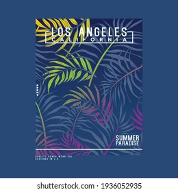 graphic tee print design for textile with tropical leaf texture