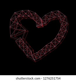 Graphic thin frame heart on a dark backgroundGraphic thin frame heart and on a dark background for Valentins Day