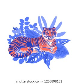 Graphic tiger having a rest among exotic leaves. Vector natural illustration isolated on white background