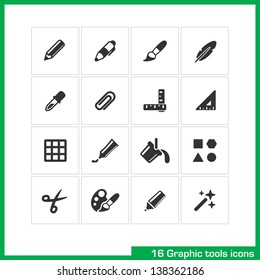 Graphic tools icon set. Vector black pictograms for web, computer and mobile apps, internet, interface design: pencil, pen, brush, feather, paper clip, rulers, triangle, grid, palette, marker symbol