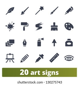 Graphic tools signs: vector set of art icons