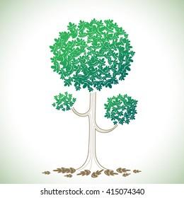 Graphic tree illustration for element design