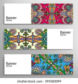 Graphic trendy banners collection. Abstract header background with colorful doodle floral ornament, cards with place for your text. Set of vector banners with geometric colored shapes
