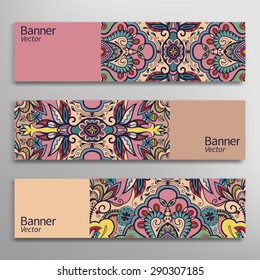 Graphic trendy banners set. Abstract geometric header vector background, doodle card with place for your text.