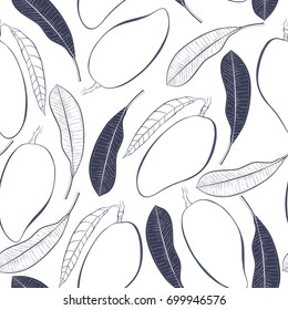 Graphic tropical seamless pattern with botanical elements. Vector mango fruit and leaves.