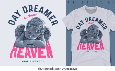 Graphic t-shirt design, Dreamer slogan with antique baby angel sleeping,vector illustration for t-shirt.