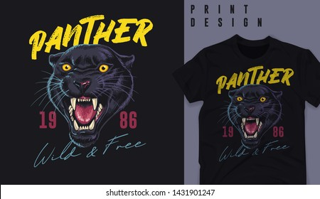 Graphic t-shirt design, panther head ,vector illustration for t-shirt.