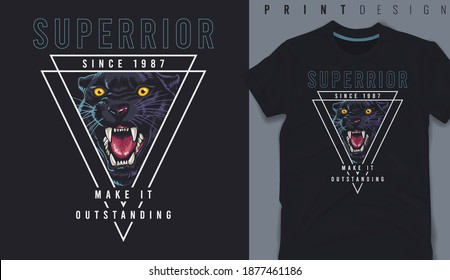 Graphic t-shirt design, Superior slogan on panther head illustration,vector illustration for t-shirt.