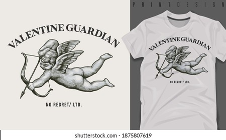Graphic t-shirt design, valentine guardian slogan with Flying Cupid holding bow and aiming or shooting arrow ,vector illustration for t-shirt.