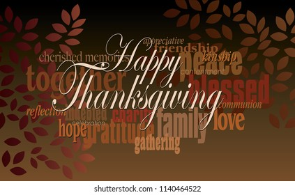 Graphic typographic montage illustration of the holiday sentiment Happy Thanksgiving composed of associated terms and words in fall tones and graphic leaf shapes. Use as possible greeting card art.