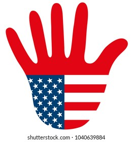 Graphic USA hand as stop sign symbolizes United States of America puts toll and custom on foreign goods and closes borders for immigrants as isolated vector illustration