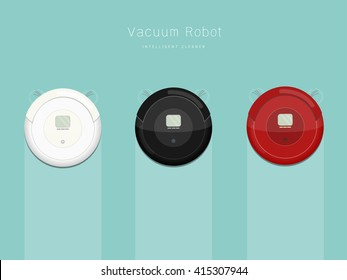Graphic of vacuum robot in three difference colors / Vacuum Robots