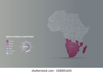 graphic vector of africa countries map. south africa countries map background.