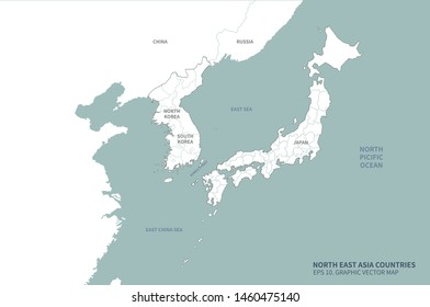 graphic vector east sea map of korea. south korea map